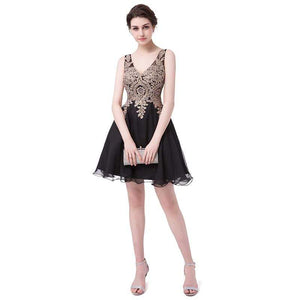 Her Shop Dresses Short Cocktail Dresses Chiffon Gold Appliques with Crystal Beaded
