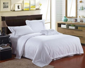 Her Shop 4 / King Five Stars Hotel 100% cotton satin Luxury white hotel bed linen bedspreads elegant  bedding set duvet cover King Queen size