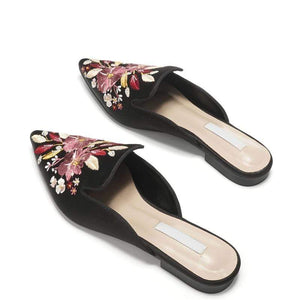 Her Shop Flats Embroidered Lady Blue Satin Mules