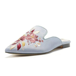 Her Shop Flats light blue / 5 Embroidered Lady Blue Satin Mules