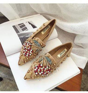 Her Shop Flats Beige cherryl laofer / 35 Rhinestone Cherry Metal Pointed Toe Casual Shoes/Slippers