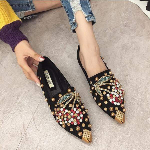 Her Shop Flats Rhinestone Cherry Metal Pointed Toe Casual Shoes/Slippers
