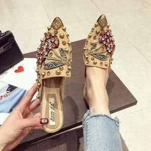 Her Shop Flats khaki chrry slipper / 35 Rhinestone Cherry Metal Pointed Toe Casual Shoes/Slippers