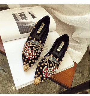 Her Shop Flats black cherry loafer / 35 Rhinestone Cherry Metal Pointed Toe Casual Shoes/Slippers