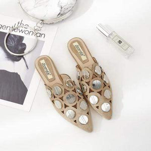Her Shop Flats Beige / 35 Spring Summer Woman Mules Half Slipper Shoes