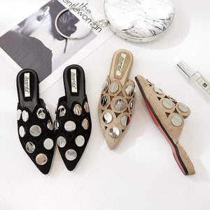 Her Shop Flats Spring Summer Woman Mules Half Slipper Shoes