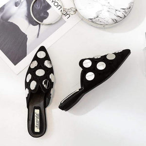 Her Shop Flats Black / 35 Spring Summer Woman Mules Half Slipper Shoes