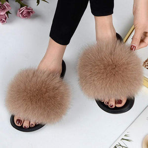 Her Shop Flats Women Casual Real Fox Fur Slippers