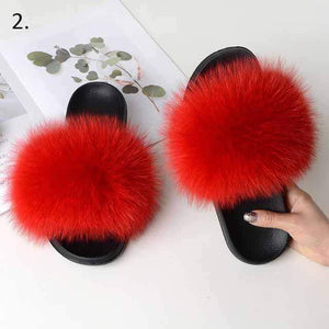 Her Shop Flats 2 / 6 Women Casual Real Fox Fur Slippers