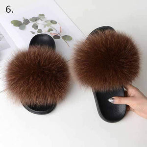 Her Shop Flats 6 / 6 Women Casual Real Fox Fur Slippers