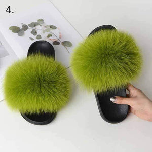 Her Shop Flats 4 / 6 Women Casual Real Fox Fur Slippers