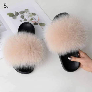 Her Shop Flats 5 / 6 Women Casual Real Fox Fur Slippers