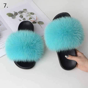 Her Shop Flats 7 / 6 Women Casual Real Fox Fur Slippers