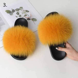Her Shop Flats 3 / 6 Women Casual Real Fox Fur Slippers