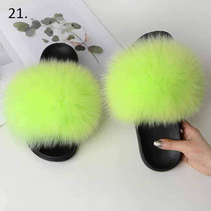 Her Shop Flats 21 / 6 Women Casual Real Fox Fur Slippers