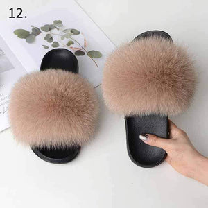 Her Shop Flats 12 / 6 Women Casual Real Fox Fur Slippers