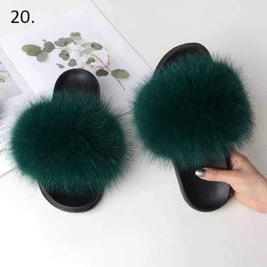 Her Shop Flats 20 / 6 Women Casual Real Fox Fur Slippers