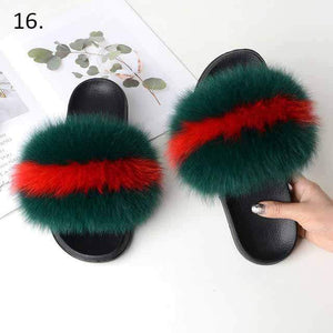 Her Shop Flats 16 / 6 Women Casual Real Fox Fur Slippers