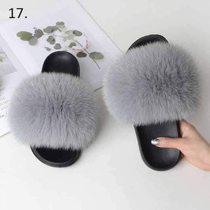 Her Shop Flats 17 / 6 Women Casual Real Fox Fur Slippers