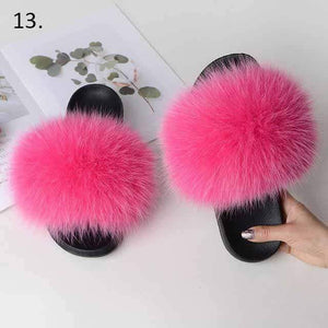 Her Shop Flats 13 / 6 Women Casual Real Fox Fur Slippers