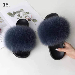 Her Shop Flats 18 / 6 Women Casual Real Fox Fur Slippers