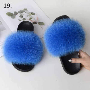 Her Shop Flats 19 / 6 Women Casual Real Fox Fur Slippers