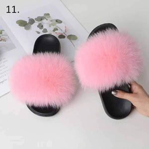 Her Shop Flats 11 / 6 Women Casual Real Fox Fur Slippers