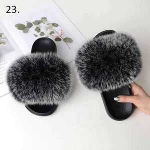 Her Shop Flats 23 / 6 Women Casual Real Fox Fur Slippers