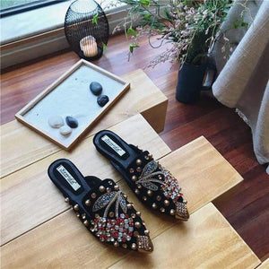 Her Shop Flats Black / 35 Women Pointed Toe Crystal Flower Luxury Half Slippers