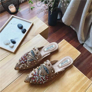 Her Shop Flats Khaki / 35 Women Pointed Toe Crystal Flower Luxury Half Slippers