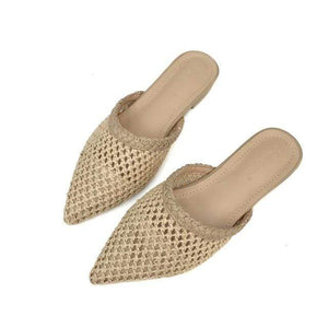 Her Shop Flats Beige / 5 Women Pointed Toe Loe Heel Slide Sandals/ Slippers Cane Woven Beach Shoes Mule Slippers