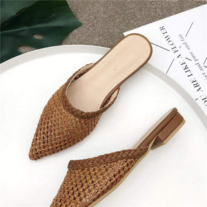 Her Shop Flats Women Pointed Toe Loe Heel Slide Sandals/ Slippers Cane Woven Beach Shoes Mule Slippers