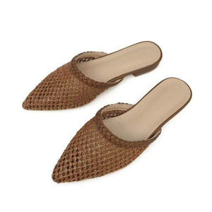 Her Shop Flats Brown / 5 Women Pointed Toe Loe Heel Slide Sandals/ Slippers Cane Woven Beach Shoes Mule Slippers