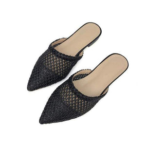 Her Shop Flats Black / 5 Women Pointed Toe Loe Heel Slide Sandals/ Slippers Cane Woven Beach Shoes Mule Slippers