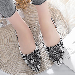 Her Shop Flats Women's Pointed Toe Office Ladies Plaid Shoes