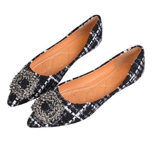 Her Shop Flats Black / 4 Women's Pointed Toe Office Ladies Plaid Shoes