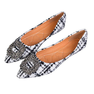 Her Shop Flats White / 4 Women's Pointed Toe Office Ladies Plaid Shoes