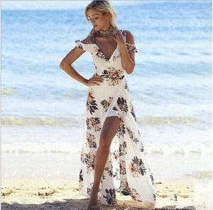 Her Shop White / L / China Floral print ruffles long dress Women strap v neck split beach summer Dresses Off the shoulder vestidos