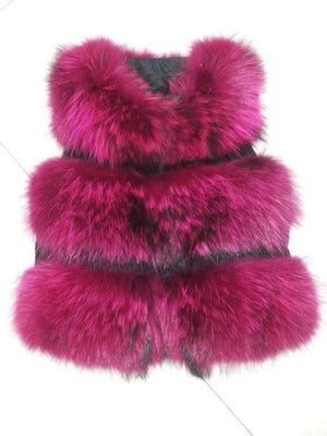 Her Shop Rose / XS Genuine Raccoon Fur Fashion Vest