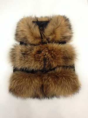 Her Shop Natural Brown / S Genuine Raccoon Fur Fashion Vest