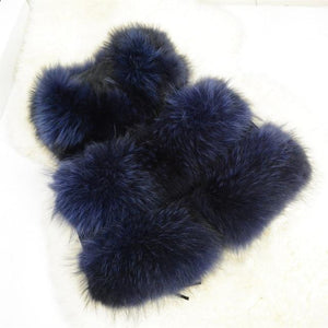 Her Shop Navy blue / XS Genuine Raccoon Fur Fashion Vest