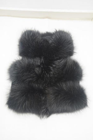 Her Shop Black / S Genuine Raccoon Fur Fashion Vest
