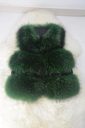 Her Shop Green / S Genuine Raccoon Fur Fashion Vest