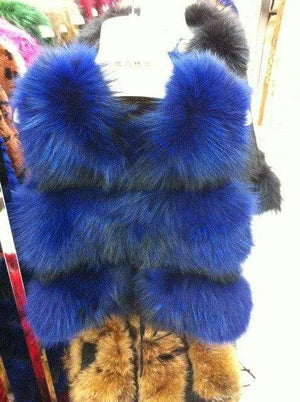 Her Shop Royal Blue / S Genuine Raccoon Fur Fashion Vest