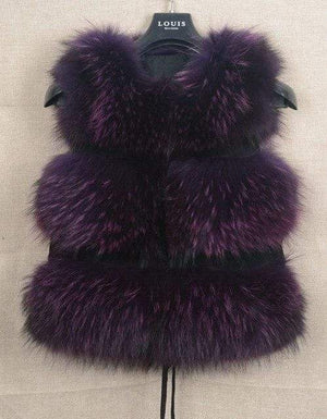 Her Shop Purple / S Genuine Raccoon Fur Fashion Vest