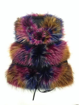 Her Shop Multi color / S Genuine Raccoon Fur Fashion Vest