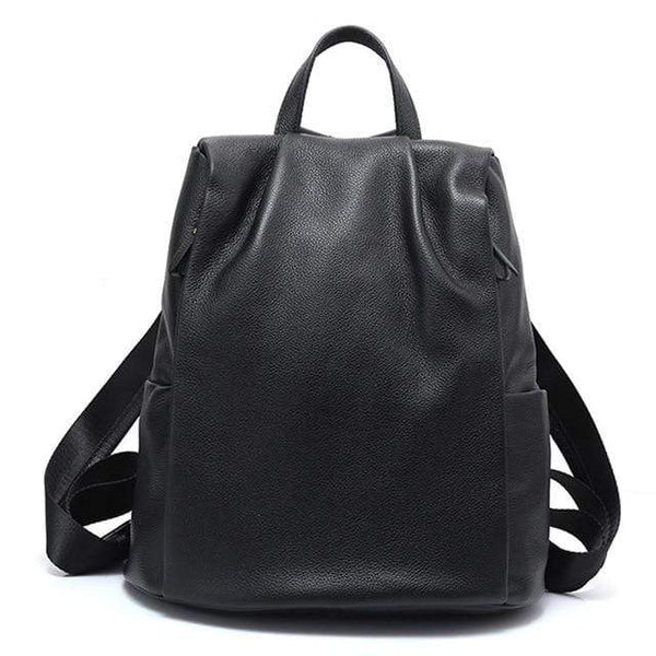 Her Shop Handbags Black / China 100% Genuine Leather Black Backpack