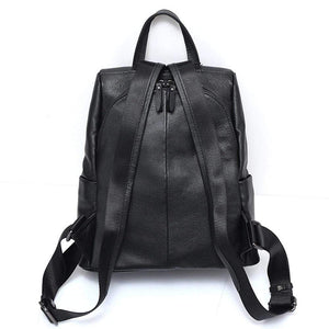 Her Shop Handbags 100% Genuine Leather Black Backpack