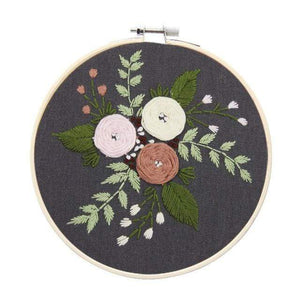 Her Shop handcraft a / 15cm bamboo hoop kit Easy Flower Embroidery DIY Kit