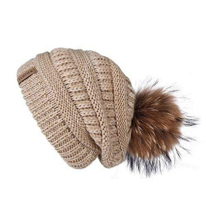 Her Shop Hats mixed khaki Pompom Slouchy Beanie Hat with Velvet